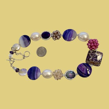 Artisan Collage Necklace Purple Agate Crystal and Simulated Pearls
