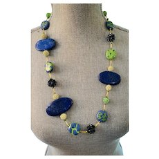 Blue Lapis and Green and Blue Kazuri African Beads --Unique Artisan Necklace 28 inches to 31 inches Long