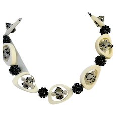 Artisan Black White and Gray Collage Beaded Necklace - Original and Unique