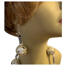 Artisan OOAK Black White & Ecru Polka Dot Earrings - Miracle Beads - Matching Necklace in my Rubylane shop