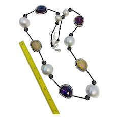 Stunning long artisan necklace-Large imitation pearls-Rhinestone encrusted crystal beads and long black glass bugle beads