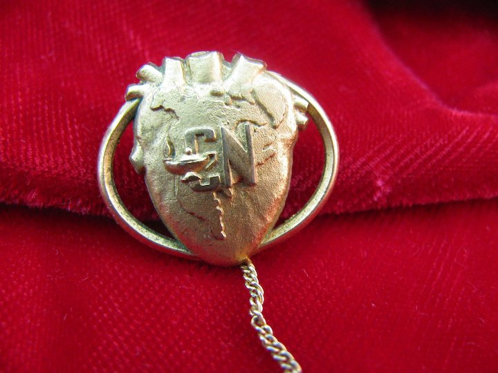 vintage nursing pin cardiac nurse or certified nurse eye4jewels