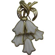 CoroCraft dangling white glass flowers Brooch