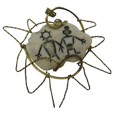 Vintage Scrimshaw pendent with wire work edges 10 DOLLAR SPECIAL