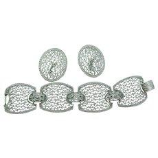 Emmons/Sarah Coventry silvertone bracelet and earrings