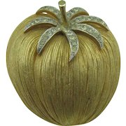 Corocraft large gold tone Apple brooch