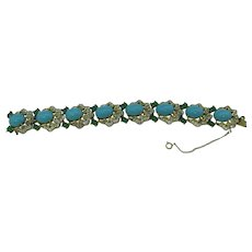 Jomaz Mogul / Jewels of India Bracelet with Faux Turquoise and flawed glass emeralds