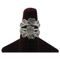 Vintage Ring looks like a wedding set Rhodium plated