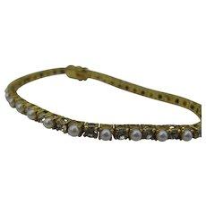 Vintage Joan Rivers tennis bracelet Faux Pearl and rhinestone