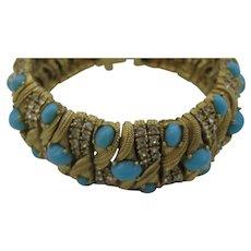 Ciner Magnificent Faux Turquoise Cabochons Bracelet Top Of the Line