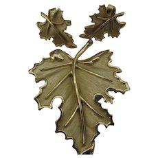 Truly Beautiful Crown Trifari Leaf set Pin and earrings