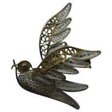 Filigree silver and enameled Bird Brooch