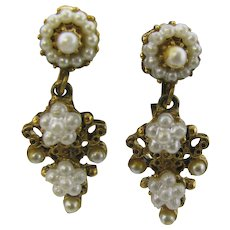 Beautiful Florenza Drop clip on earrings with faux pearls