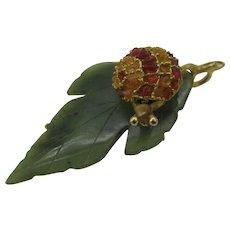 Signed Swoboda Snail on a Jade leaf pin