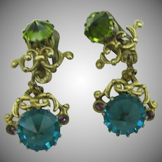Made in Austria dangle clip earrings with inverted stones