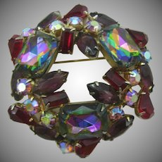 Large red Rhinestone wreath pin with rectangular watermelon stones