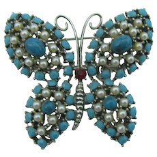 Weiss Turquoise and faux pearl Butterfly Brooch