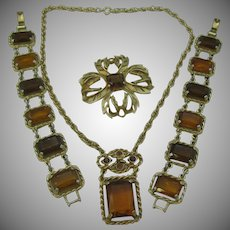 Sarah Coventry Canada Necklace, brooch and double bracelet set