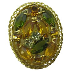 Oval Rhinestone brooch with green and amber navettes
