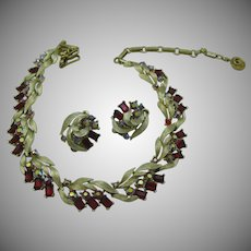 Lisner Lovely Red AB Necklace and earring set