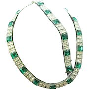 Stunning 1930's-40's Necklace and bracelet set in Kelly green and clear Rhinestones