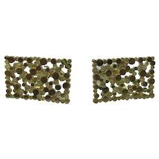 14K Gold large mid-century modern cuff links