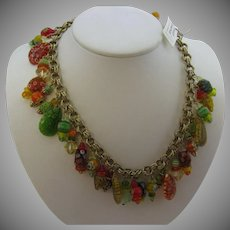 Wonderful cha cha necklace with Millefiori beads