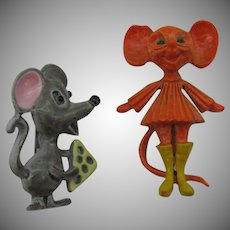 An adorable pair of enameled mice pins Boy and Girl
