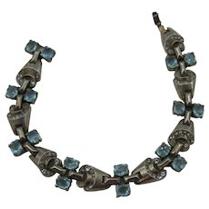 Trifari A. Philippe sterling Art deco design Bracelet Aqua blue rhinestones