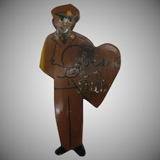 10 Dollar Tuesday Special, 1940's wooden sweetheart pin