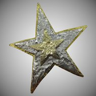 10 Dollar Tuesday Special, Large gold tone and silver tone star pin marked Mandle