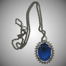Beautiful Blue rhinestone necklace  pin/pendent