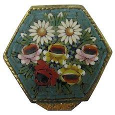 Micro mosaic pill brass pill box