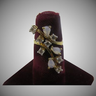 Dainty Panetta ring in sterling silver with gold vermiel with faux opals and CZ's