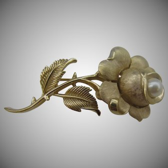 Trifari Rose pin with glass pearl center