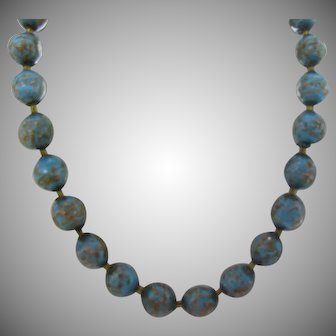 Venetian Blue and Gold beaded necklace