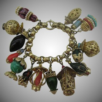 Rare Napier Lanterns Charm Bracelet 1950s gold tone Book piece