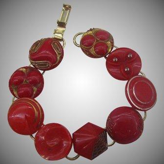 Red Glass button bracelet Fun and Unique
