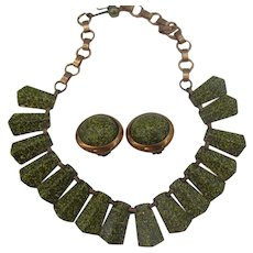 Beautiful Copper enameled Necklace and earrings