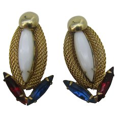 Hobe Red White and Blue earrings clip on