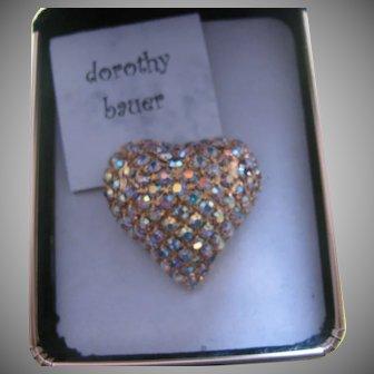 Vintage Dorothy Bauer large rhinestone heart pin