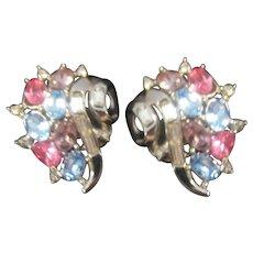 Beautiful Crown Trifari multi colored Rhinestone earrings