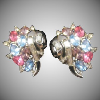 Beautiful Crown Trifari multi colored Rhinestone earrings