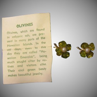 Vintage Olivines earrings from Hawaii