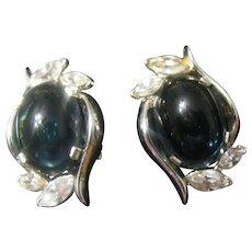 Trifari Silver tone and opaque blue earrings Mogul?