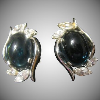 Trifari Silver tone and opaque blue earrings Mogul?