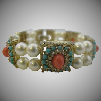 Vintage Coral color cabochon and turquoise bead bracelet with glass pearls