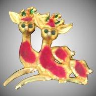 Retro 1950's pink Flocked Reindeer pin