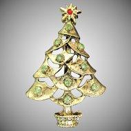 Christmas Tree pin with light green rhinestones