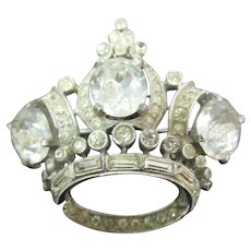 1940's Coro Sterling Crown Brooch all clear stones